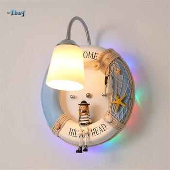קריקטורה שחייה טבעת צורת קיר מנורות זכוכית אהיל לילדים חדר שינה סלון קישוט בית דקו קיר אורות Led E27