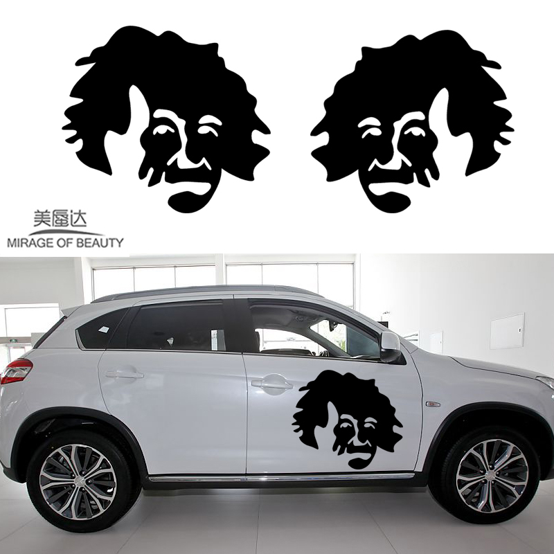 2 X Wisdom Has The Most Brain Einstein World Into A New Era of Classic Car Stickers for RV Kayak Door Window Vinyl Decal