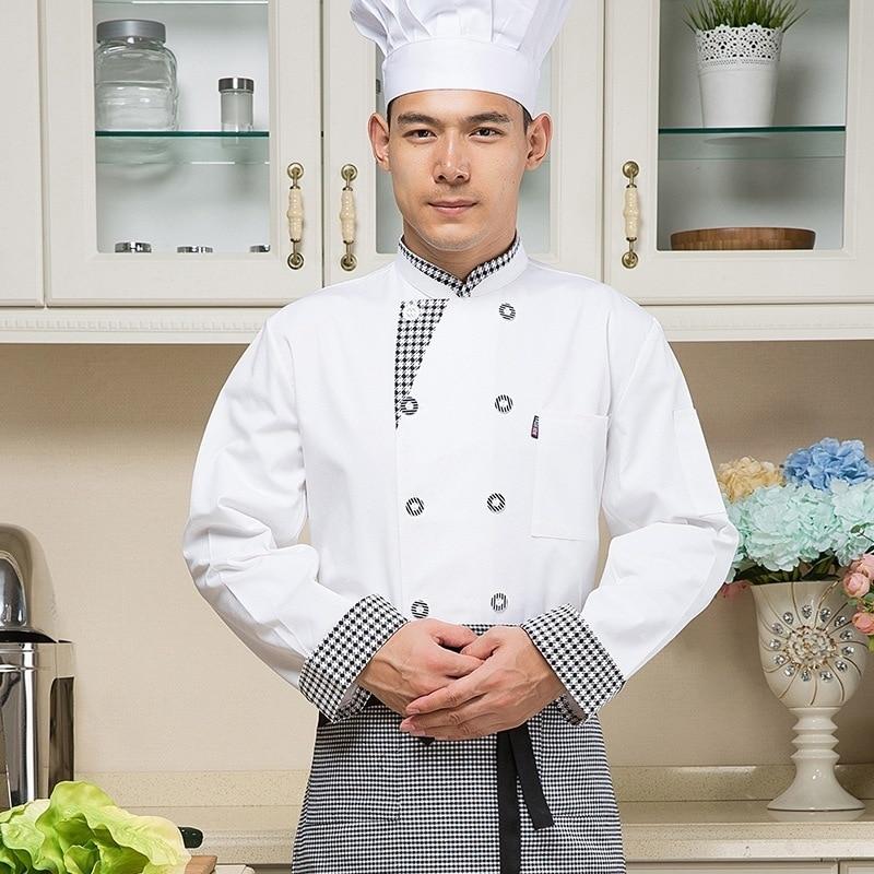 New White Chef Ristorante Dell hotel Giacca A Maniche Lunghe Tuta Uniforme  Utensili Pasticceria Cucina Abiti Da Lavoro per le Donne Degli Uomini in  New ... fba7c682970
