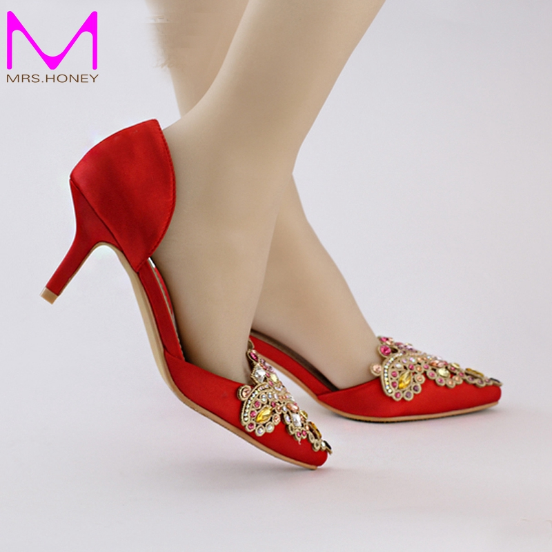 Red Satin Bridal Shoes with Rhinestone Crystal Medium Heel Party ...