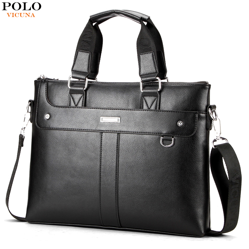 VICUNA POLO Simple Solid Color Mens Handbags For Laptop Perfect Quality Leather Briefcase Men Hot Sell Brand Male Office Bags