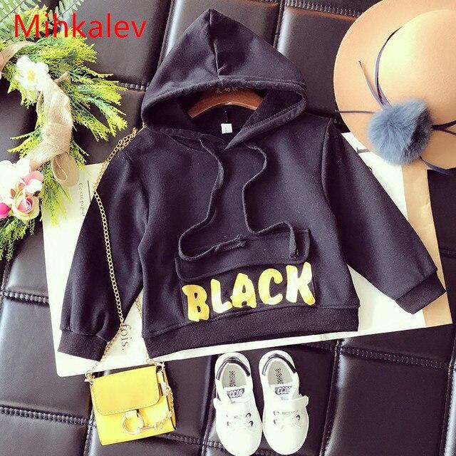 Mihkalev Черный Цвет Детские Толстовка для мальчиков с капюшоном Мода 2017 осенняя одежда для детей Детская одежда спортивная одежда для девочек верхняя одежда
