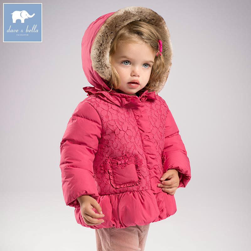 DB5936 dave bella winter baby girls floral down jacket children white duck down padding lace coat kids hooded outerwear db4088 dave bella baby girls padded clothing hooded padded coat outerwear kids down jacket