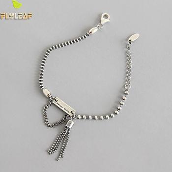 Flyleaf Vintage cuentas antiguas brazaletes con encanto de borlas para mujeres Retro 100% Plata de Ley 925 estilo INS joyería