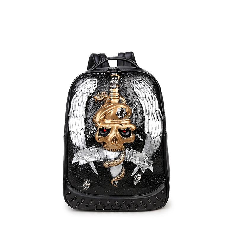 Punk Fashion 3D Pirate Backpacks Men and Women Leather Shoulder Bags PU Laptop Bags Personality Rivet Big Backpack Cartoon Bag punk women s satchel with rivet and pu leather design