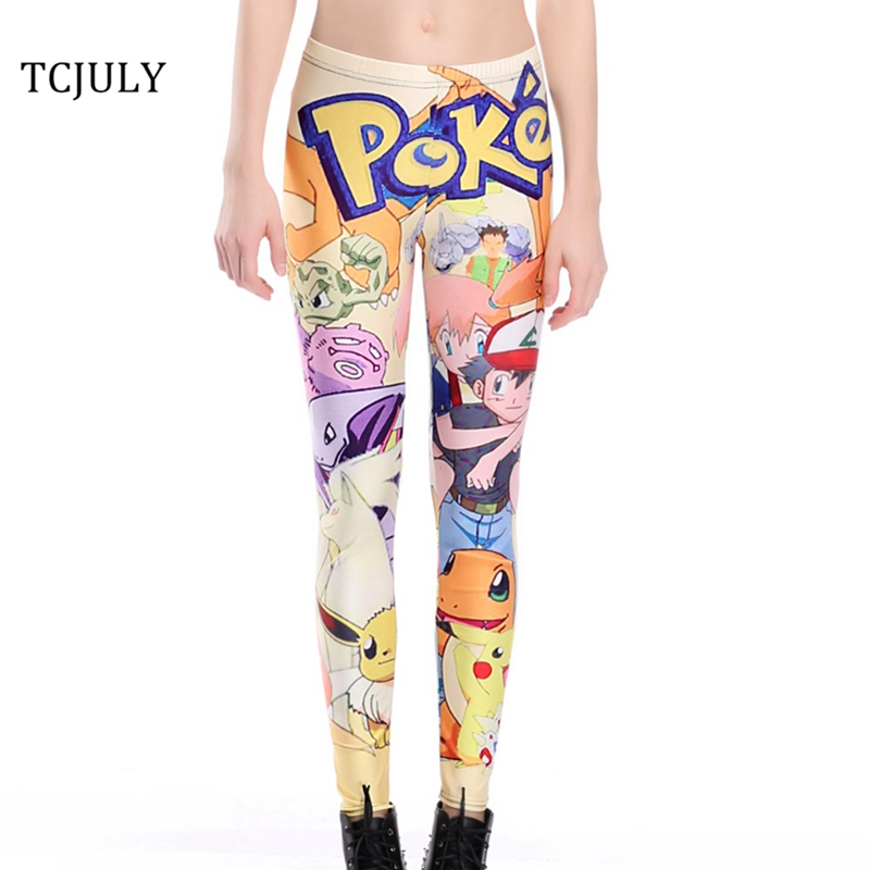 TCJULY New Arrival Cartoons Pokemon Print Leggings Women Skinny Push Up Workout Pants Breathable Quick Dry Flex Stretch Leggins
