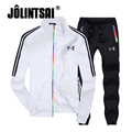 Jolintsai Zipper Sweatershirts+Pants Men Tracksuit Set 2017 Sportwear Men Plus Size XXXXL Hoodies Sportswear Striped Jacket