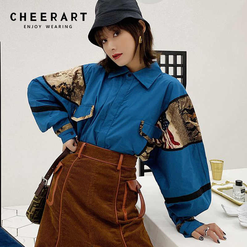 0d19911a96f945 Cheerart Vintage Womens Tops And Blouses Pop Patchwork Blue Oversized Shirt  Long Sleeve Loose Blouse Top