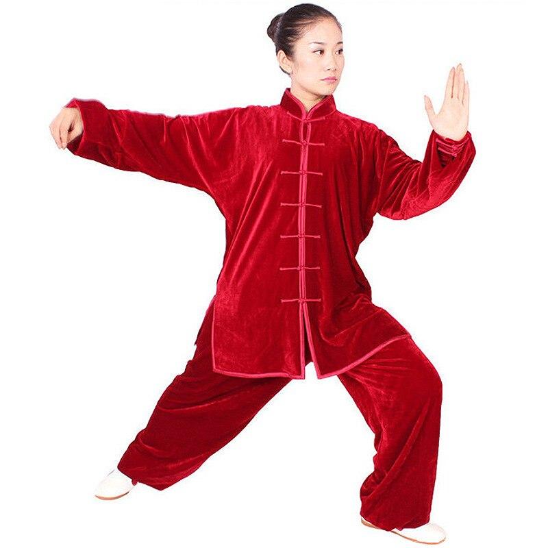 ALYWY05 pleuche tai chi suits winter wu shu uniforms men wushu suits women kung fu performance wear free shipping
