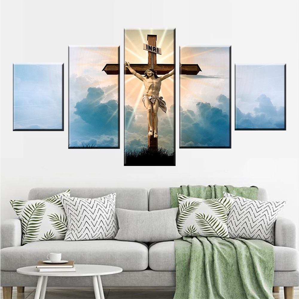 Wall Art Decor HD Print 5 Pieces Christian Religion Jesus God And Cross Landscape Poster Painting Frame Modular Canvas Pictures in Painting Calligraphy from Home Garden