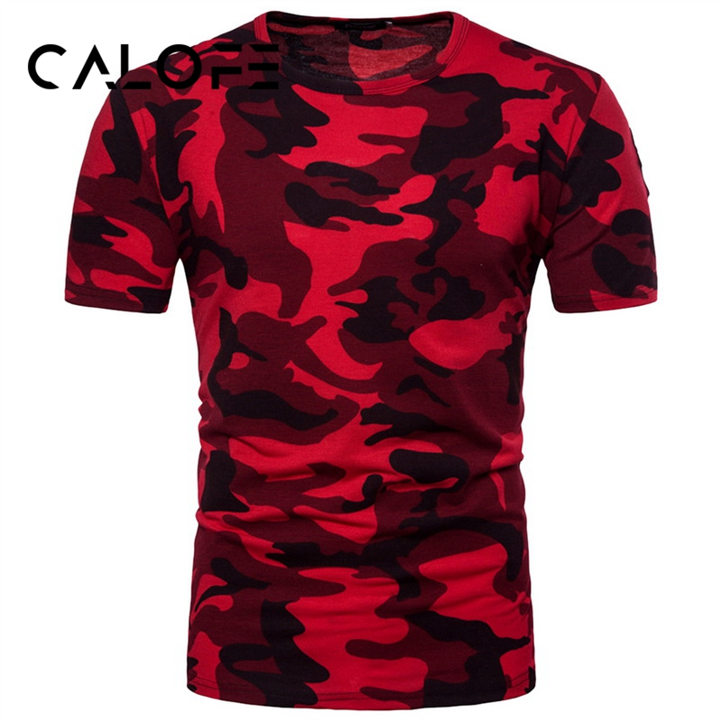 CALOFE Running Exercise T-Shirts Men Short Sleeve Tight Top Elastic Running Tee Shirts Exercise Camouflage Soft Tees Gym Tops