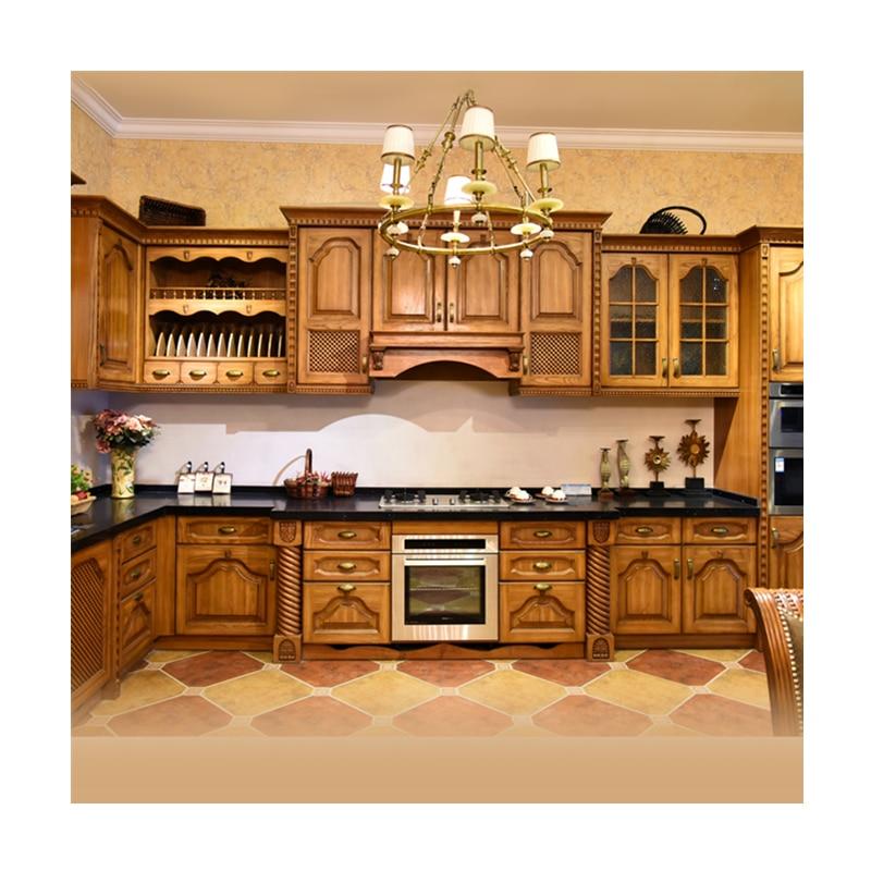 Antique Style Solid Wood Kitchen Cabinet Design