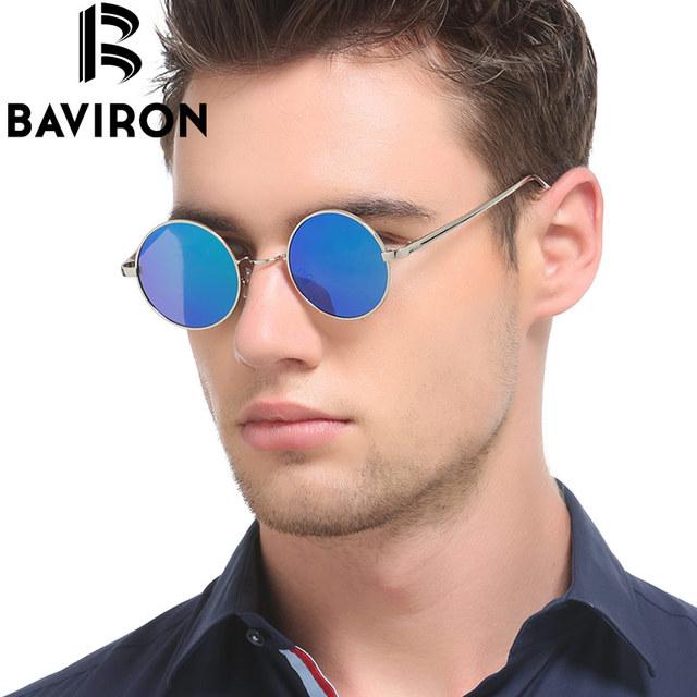 BAVIRON Hippie Steampunk Óculos De Sol Masculino Óculos de Lentes Polaroid óculos de Sol Retros Dos Homens Clássicos Retro Fina Liga de Metal Plana 8045