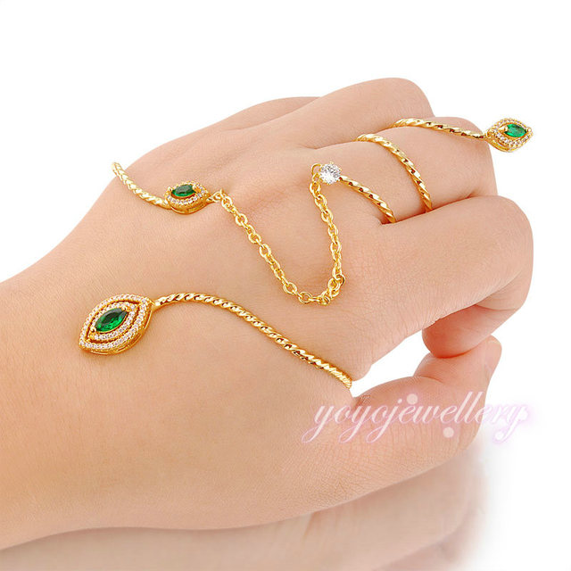 Mytys Green Crystal Fashion The Back of The Hand Jewelry Handlets Women Bangle Cuff Palm Bracelet Connected with Finger R990