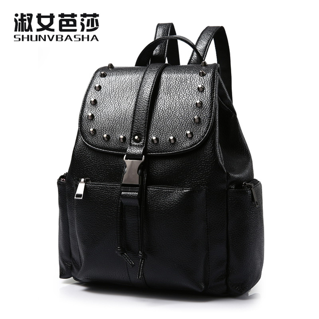 70e64d4ac5 New Fashion small women backpacks small rivet zipper pu leather student  backpack preppy style backpack girls women s back pack