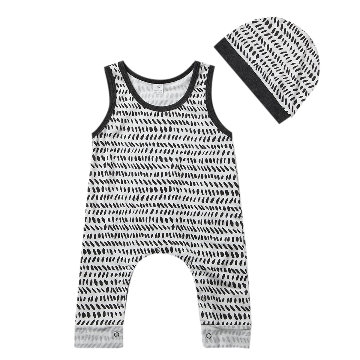 Newborn Infant Baby Boy Girl Romper+Hat 2017 New Hot Sale Sleeveless Print Brief Casual Jumpsuit Summer Clothes Outfits