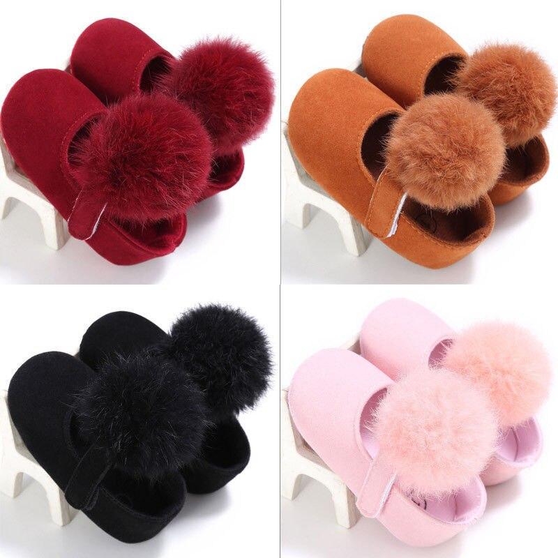 Cute Infant Baby Shoes Cotton Ball Shoes Newborn Girls Soft Sole Prewalker Princess Shoes Crib Shoes 0-18 Months