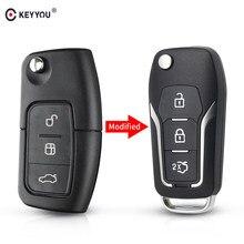 KEYYOU 3 botones Flip coche de control remoto clave Shell para Ford Fiesta C Max Galaxy Fob de entrada sin llave caso
