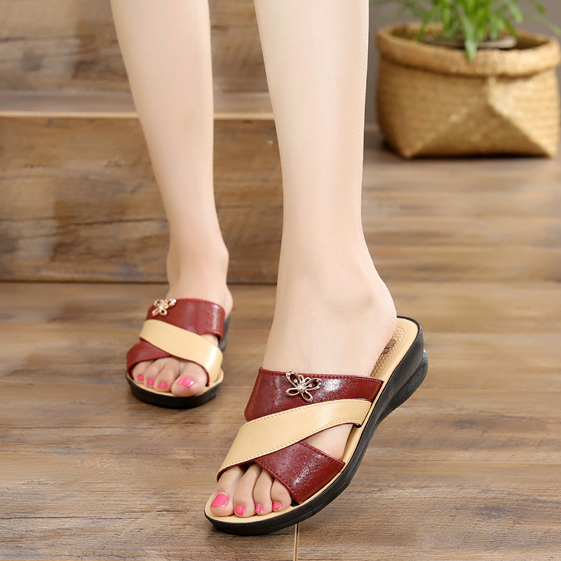 Gladiator Sandals Platform Wedge Beach-Slippers Women's Shoes Butterfly Roman Peep-Toe