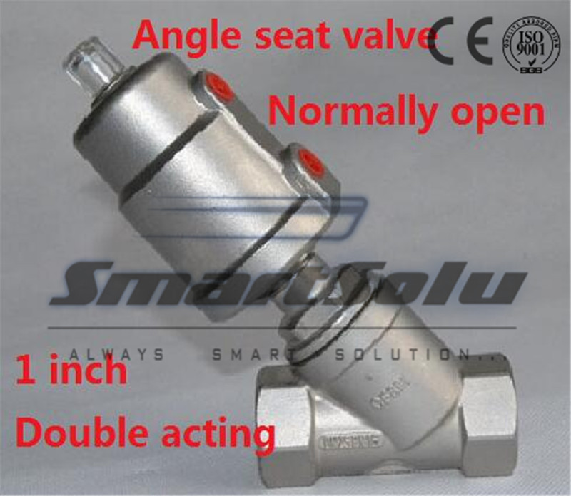 Free shipping seat actuator double cheap steam water stainless steel valve angle DN25 1 inch normally open for air free shipping seat actuator double cheap steam water stainless steel valve angle dn25 1 inch normally open for air