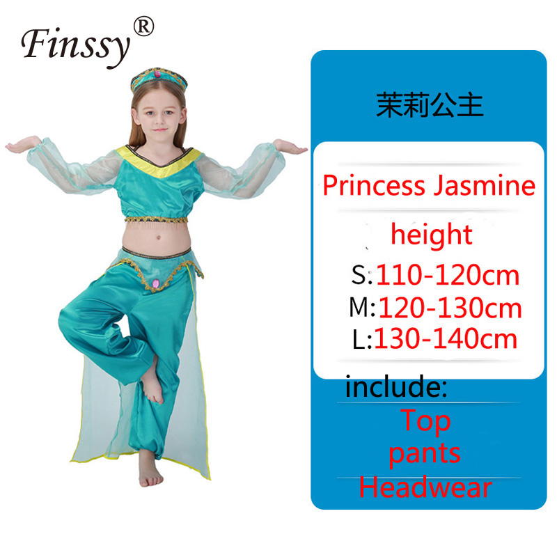 Aladdin's Lamp Jasmine Princess Cosplay Costume for Girls Halloween Carnival Party Belly Dance Dress