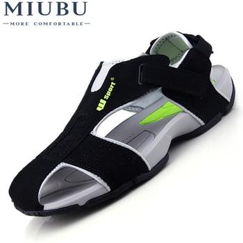 MIUBU Summer Sandals Men Closed Toe Fashion Beach Flexional Suede Leather Shoes Big Size