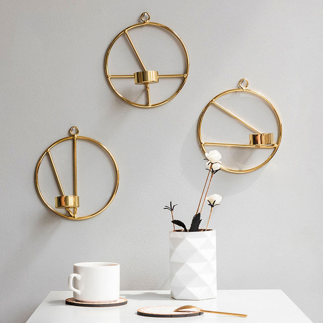 Modern Art Candle Holder Wall Gold Sconce Plaque Home Decor Banquet Party
