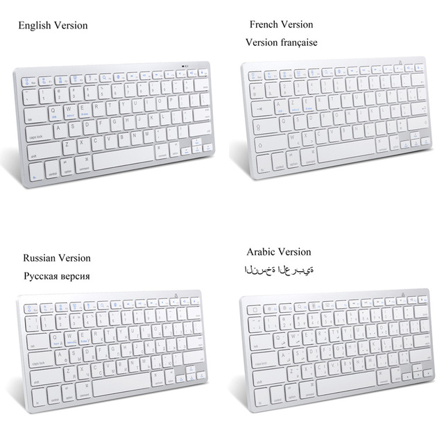 Russian French Arabic Spanish Wireless Keyboard Bluetooth 3.0 for iPad Tablet Laptop Support iOS Windows Android System 1