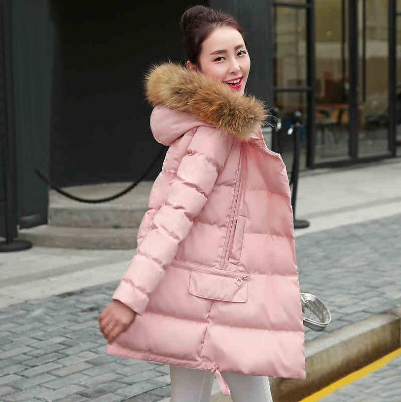 Wholesale real fox fur collar hooded down parkers 2018 winter warm hooded jacket  Slim thicker 90% white duck coat w1150
