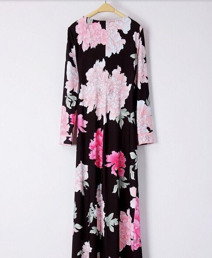 À Jersey Clair Longue Charme Manches Robe Maxi Floral Soie Qualité Droite Haute Imprimé De Grand Designer Femmes Longues TWg8XcB6U