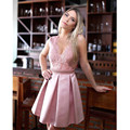 Pink Satin Cocktail Dresses Illusion Sheer Neck Short Party Dress A Line Lace Pearls Short Formal Party Gowns Vestidos de coctel