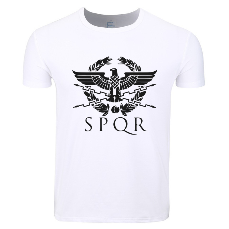 Asian Size Print SPQR Rome Latin Cool Retro Fashion T-shirt O-Neck Short Sleeve Roman Em ...
