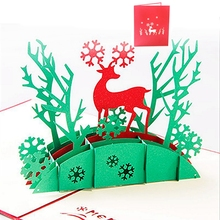 Deer 3D Greeting Card Pop Up Paper Cut Postcard Birthday Valentines Party Gift -W210(China)