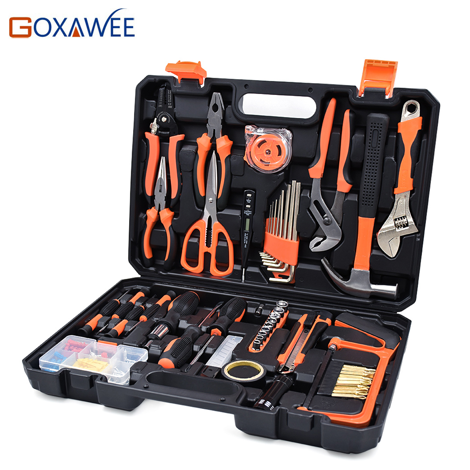 GOXAWEE Home Repair Tools Set Screwdrivers Bits Set Pliers Sockets Spanner Wrench Saw Hammer Household Tool Kits Hand Tools Box chrome vanadium steel ratchet combination spanner wrench 9mm
