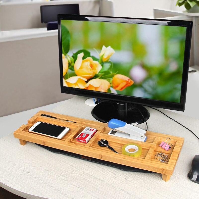 Brève pastorale style bambou bureau organisateurs boîte ordinateur bureau clavier stockage bambou multi-grille boîte de rangement Rack
