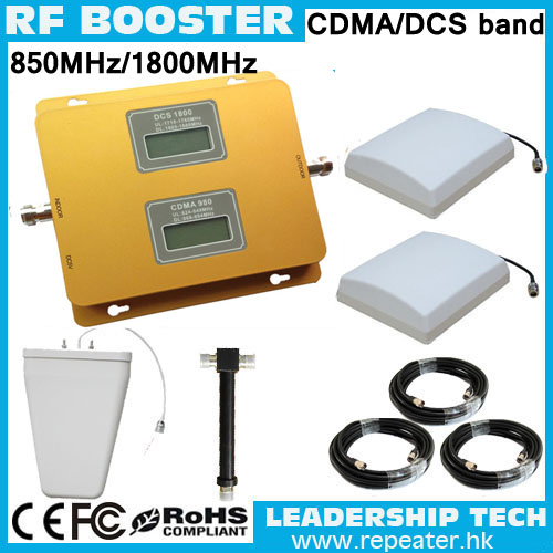 Up to 1000m2 1800mhz/850mhz dual band LCD 3G mobile phones repeaters GSM1800mhz CDMA800mhz dual band cell phone signal booster