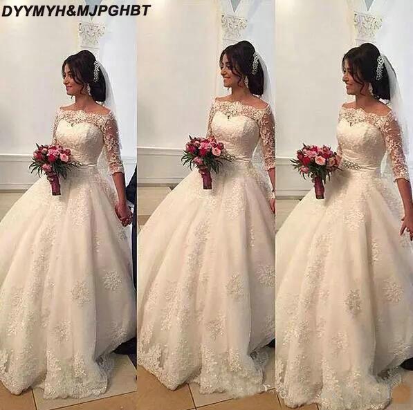 2019 Beaded Lace Arabic Wedding Dresses Bateau Half Sleeves Ball Gown Bridal Dresses Princess Wedding Gowns