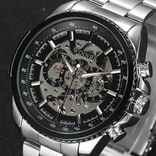 Ganador Reloj Mecánico Esquelético Hombres de Lujo Negro Impermeable Moda Casual Marca Militar Relojes Deportivos Relogios masculino