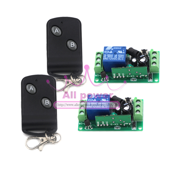 2receiver Dc 12v 1 Ch 1ch Rf Switch Wireless Remote Control Switch System 315/433 Mhz Garage Door Remote Control 2transmitter