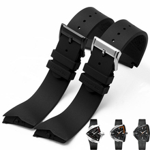 Men's mechanical watch with 27MM black waterproof rubber strap for VENTURA H24655331 | H24615331 pin buckle strap