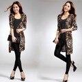 Бесплатная Доставка Дамы Моды Пальто Женщин Элегантный длинными рукавами печати леопарда Верхняя Одежда
