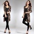 Free Shipping Ladies Fashion Coat Women Elegant long-sleeve leopard print Outerwear
