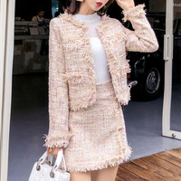 Skirt Suits Women Runway Designer Elegant Office Ladies Formal Tweed Blazer Short Jacket Coat Mini Skirt 2 Piece Set Suit Outfit
