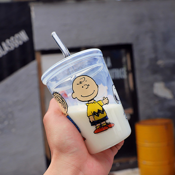 Cute Cartoon Glass Transparent Water Bottle With Straw