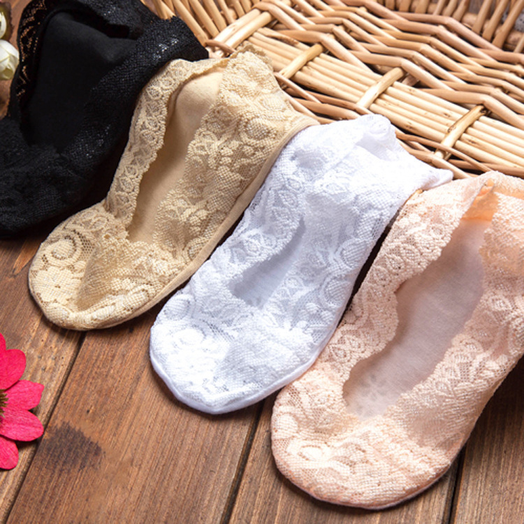 Summer Women Girl Silica Gel  Lace Boat Socks Invisible Cotton Sole Non-slip  Antiskid  Slippers Anti-Slip  Sock 1pair=2pcs Ws74