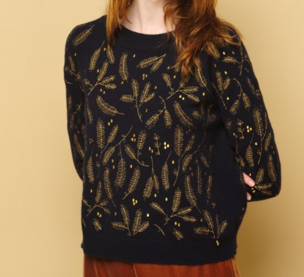 Wool Gold Silk Leaves Lurex Embroidery Leaves Warm Round Neck Knitted Sweater