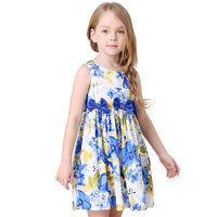 2017 New Arrival Girls Summer Dress Kids Elegant Printed Floral Bowknot Party Beach Princess Dresses Child Summer Clothes