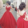 Red Ball Gown Prom Dresses V Neck Appliques Sequins Backless Vestidos De Baile Corset Back Princess Party Party Gown