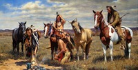 Good quality # TOP Decor ART American Indian Native horse print Western art painting on canvas 36 large free shipping