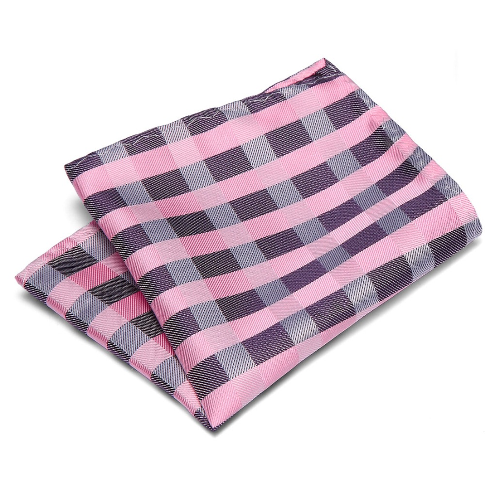 Handkerchiefs For Men Suit Tie Pink & Black Paisley Men Fashion New Design Polyester Hanky Plaid Pocket Square&Handkerchief